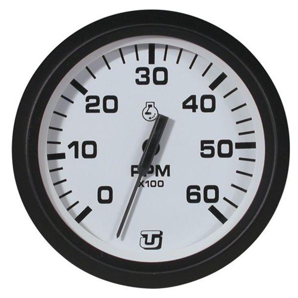 6000 RPM Petrol Inboard Engine Tacho Gauge White