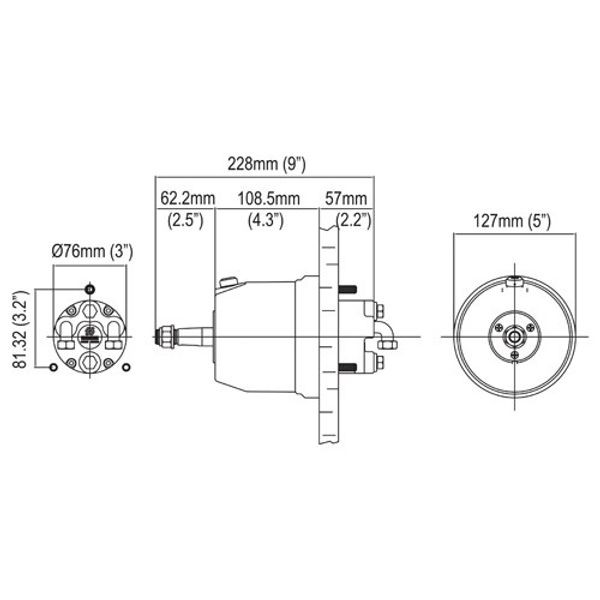 UP20F Front Mount Hydraulic Helm 20cc