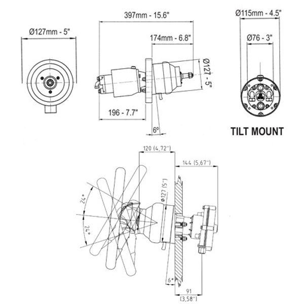 UP25T Tilt Mount Hydraulic Helm 25cc