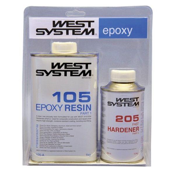 West System 1.2kg A Pack: 105 Resin+ 205 Fast Hardener